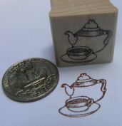 Teapot miniature rubber stamp WM