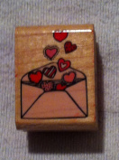 "Wood/Rubber Stamp ""Envelope Full of Love Hearts"""
