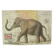 Elephant on Map of India Vintage Poster Print 50cm x 70cm