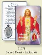 Rosarybeads4u Sacred Heart Of Jesus Coloured Medal Pendant Verse Prayer Card