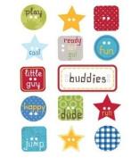 Little Guy Button Chipboard Scrapbook Stickers