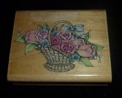 Romantic Flower Basket Rubber Stamp