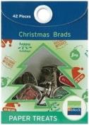 Paper Treats Christmas Theme Brads-shiny Silver Finish 42/pkg