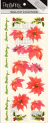Poinsettia and Holly Vellum Scrapbook Stickers