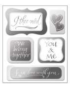 Silver Wedding Dimensional Scrapbook Stickers
