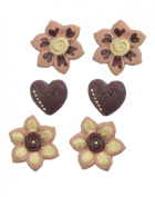 Set of 6 Brown/Pink Heart and Flowers Embellishments