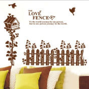 Tree Bird Fence Removable Wall Vinyl Sticker Decals Wallpaper LW6901