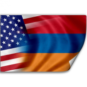 Sticker (Decal) with Flag of Armenia and USA