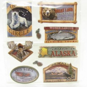Alaska Scrapbooking Craft Stickers 3-d Lodge Signs
