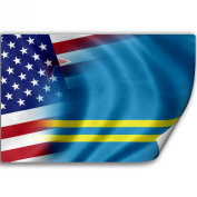 Sticker (Decal) with Flag of Aruba and USA