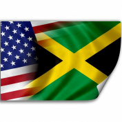 Sticker (Decal) with Flag of Jamaica and USA