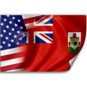 Sticker (Decal) with Flag of Bermuda and USA