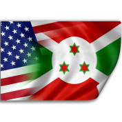 Sticker (Decal) with Flag of Burundi and USA