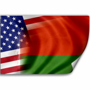Sticker (Decal) with Flag of Belarus and USA