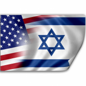 Sticker (Decal) with Flag of Israel and USA