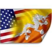 Sticker (Decal) with Flag of Bhutan and USA