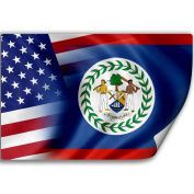 Sticker (Decal) with Flag of Belize and USA