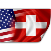 Sticker (Decal) with Flag of Switzerland and USA