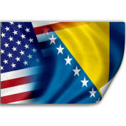 Sticker (Decal) with Flag of Bosnia And Herzegowina and USA
