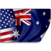 Sticker (Decal) with Flag of Australia and USA