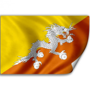 Sticker (Decal) with Flag of Bhutan