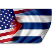 Sticker (Decal) with Flag of Cuba and USA