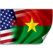 Sticker (Decal) with Flag of Burkina Faso and USA