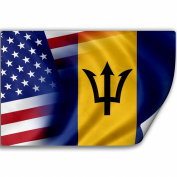 Sticker (Decal) with Flag of Barbados and USA