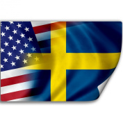 Sticker (Decal) with Flag of Sweden and USA