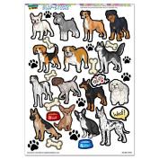 Dog Breeds - Paw Prints Beagle German Shepherd Chihuahua SLAP-STICKZ(TM) Party Scrapbook Craft Car Window Locker Stickers