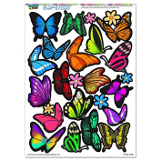 Pretty Butterflies - Butterfly Flowers SLAP-STICKZ(TM) Party Scrapbook Craft Car Window Locker Stickers