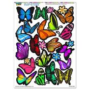 Pretty Butterflies - Butterfly Flowers SLAP-STICKZ(TM) Party Scrapbook Craft Car Window Locker Stickers