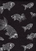 Nepalese Screenprinted Lokta Paper- Silver Fish on Black Paper 50cm x 80cm Sheet