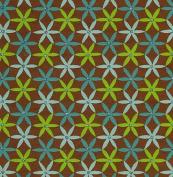 Printed Glitter Paper- Green & Blue Flowers on Brown 60cm x 80cm Sheet