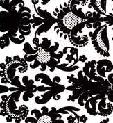 Flocked Velvet Paper- Black Filigree on White 60cm x 80cm Sheet