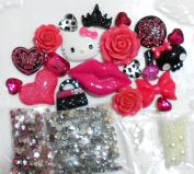 LOVEKITTY DIY 3D Kitty Bling Cell Phone Case Resin Flat back Kawaii Cabochons Deco Kit / Set