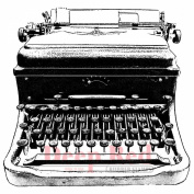 Deep Red Cling Stamp 7cm x 7.6cm -Classic Typewriter