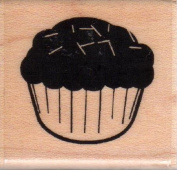 Cupcake With Sprinkles Wood Mounted Rubber Stamp