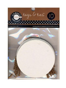 Canvas Corp Tags with Jute Ties round white pack of 10