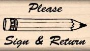 Please Sign & Return Rubber Stamp - 2.5cm x 2.5cm - 1.9cm