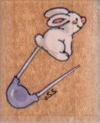 Bunny Pin Wood Mounted Rubber Stamp
