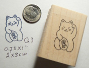 Lucky cat maneki-neko rubber stamp Q3
