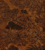 Paradise Paper- Garden Print in Black on Sienna Brown Paper 48cm x 70cm Sheet