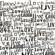 Printed Single-Sided Cardstock 30cm x 30cm -Black & White Live, Love, Laugh 15 per pack