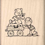 Boy & Girl moving Rubber Stamp - 2.5cm - 1.3cm x 2.5cm - 1.3cm