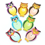 25 Wonderfully Colourful Owl Buttons with Exclusive Shizaru Designs Gift Bag