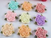 20pc Large 3.3cm Rose Flower W/leaf Resin Flatback Button/bow