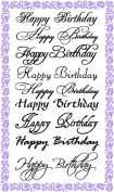 Happy Birthday Calligraphy Set (10cm x 18cm ) Clear Stamps Sheet / Greetings Wishes Decorative
