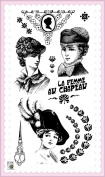 Lady with Feather // Clear stamps pack (10cm x 18cm ) FLONZ