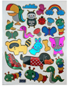 Jazzstick 210 Glitter Bird, Bug, Worm, Dog, Snake & Animal Decorative Sticker 10 sheets